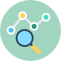 Line graph and magnifying glass illustration